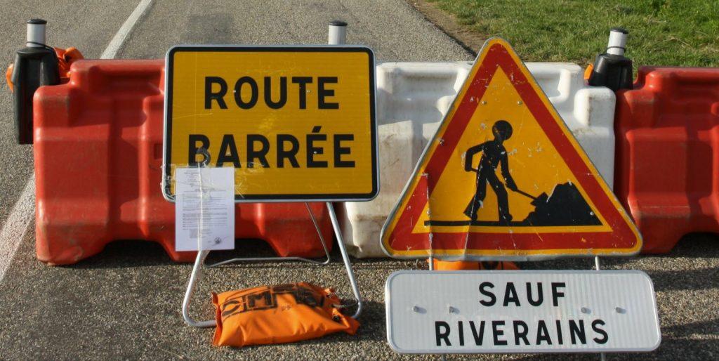 Route barrée pour travaux
